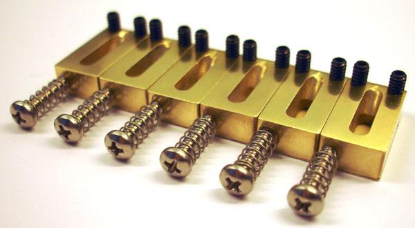 brass bridge saddles for fender american strat 410 width offset ebay. Black Bedroom Furniture Sets. Home Design Ideas